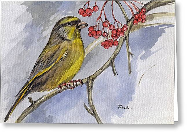 The Greenfinch Greeting Card by Angel  Tarantella