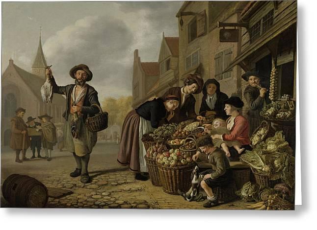 The Greengrocers Shop De Buyskool, Jan Victors Greeting Card
