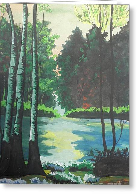 The Greenish Nature World Greeting Card by Artist Nandika  Dutt