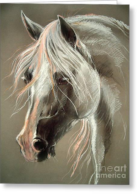 The Grey Horse Soft Pastel Greeting Card by Angel  Tarantella