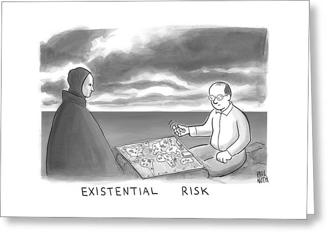 The Grim Reaper And A Man Play Existential Risk Greeting Card