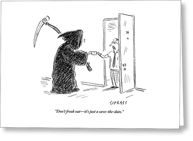 The Grim Reaper Is Seen Giving A Piece Of Paper Greeting Card