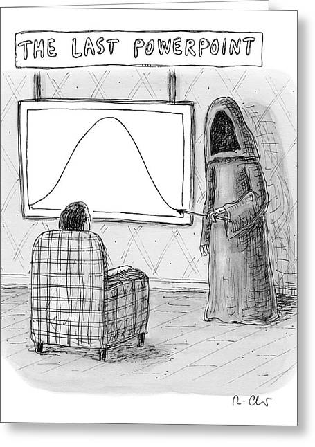 The Grim Reaper Points To A Screen As A Man Greeting Card