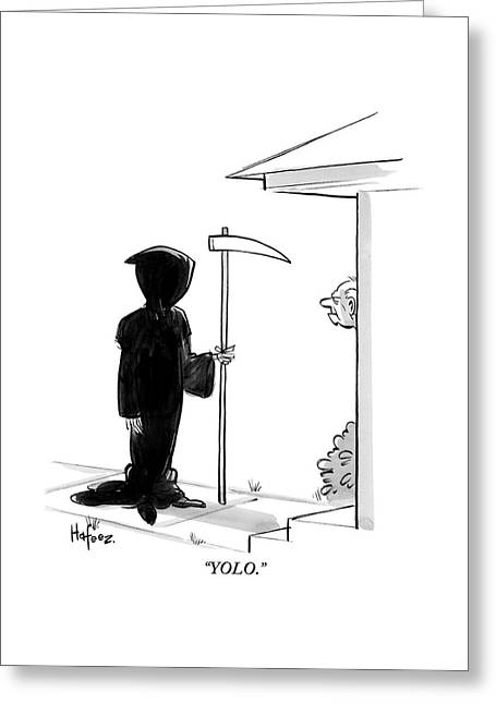 The Grim Reaper Stands At A Man's Door Step -- Greeting Card