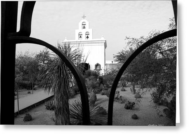 The Grounds Of San Xavier Greeting Card by Dick Botkin