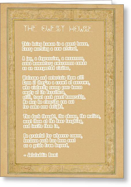 The Guest House Poem By Rumi Greeting Card