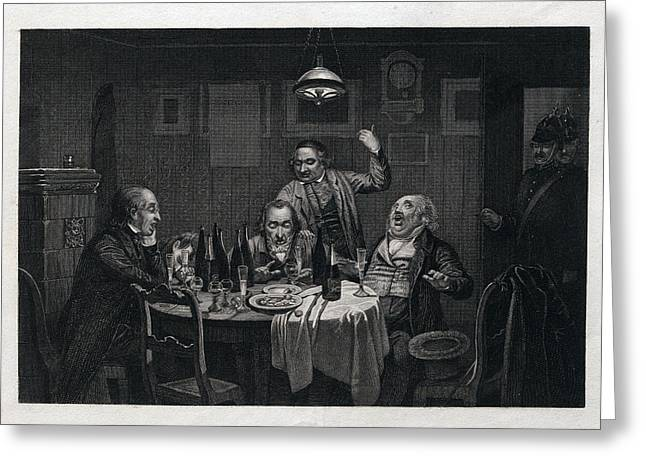 The Guests, 1864, Food And Drink, Table, Bottle, Bottles Greeting Card by English School