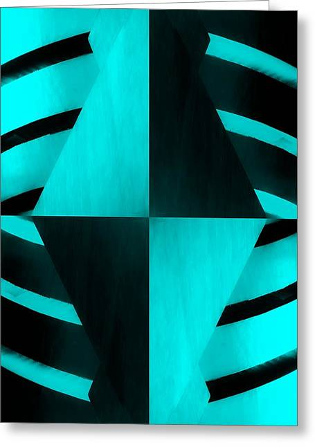 The Guggenheim Mirror Collection In Quad Colors Light Dark Aquamarine Greeting Card by Rob Hans