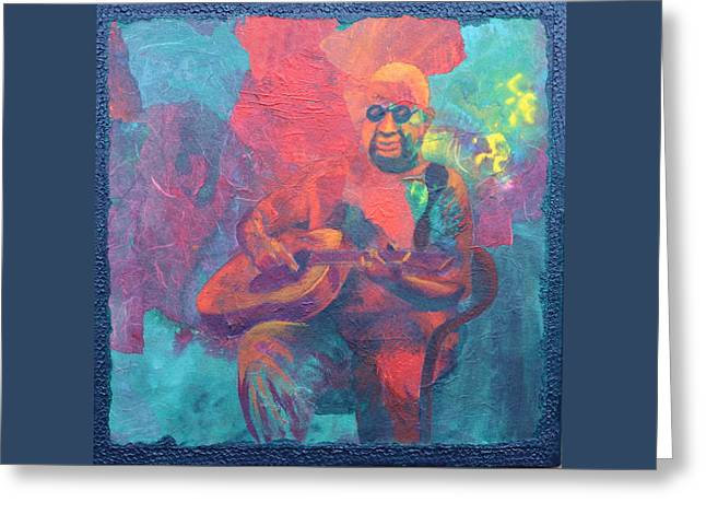 Greeting Card featuring the painting The Guitar Player by Nancy Jolley