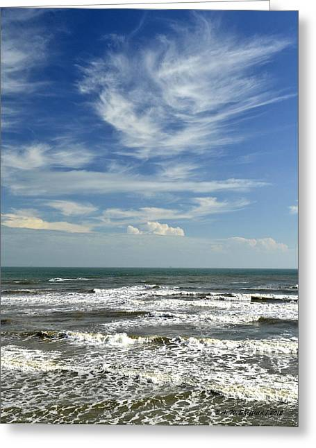 The Gulf Of Mexico From Galveston Greeting Card