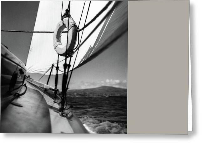 The Gunwale Of A Sailboat Greeting Card by George Platt Lynes