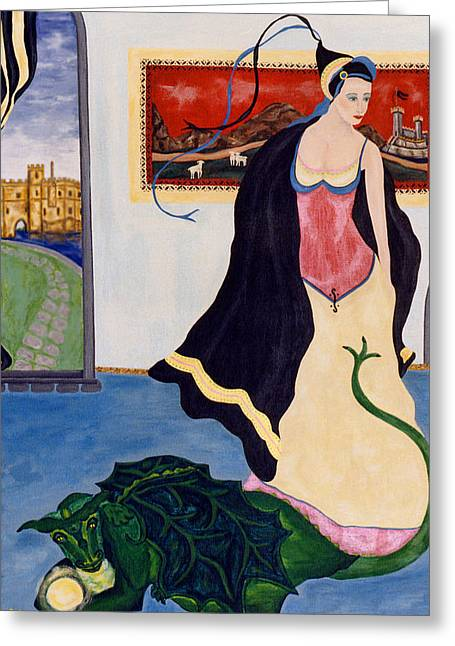 The Gypsy And The Dragon Painting Greeting Card by Sally Rockefeller
