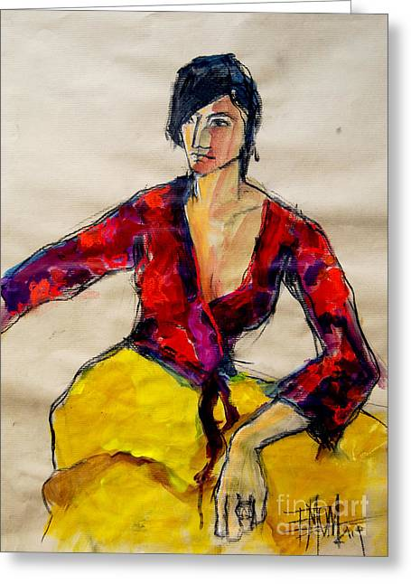 The Gypsy - Pia #2 - Figure Series Greeting Card by Mona Edulesco