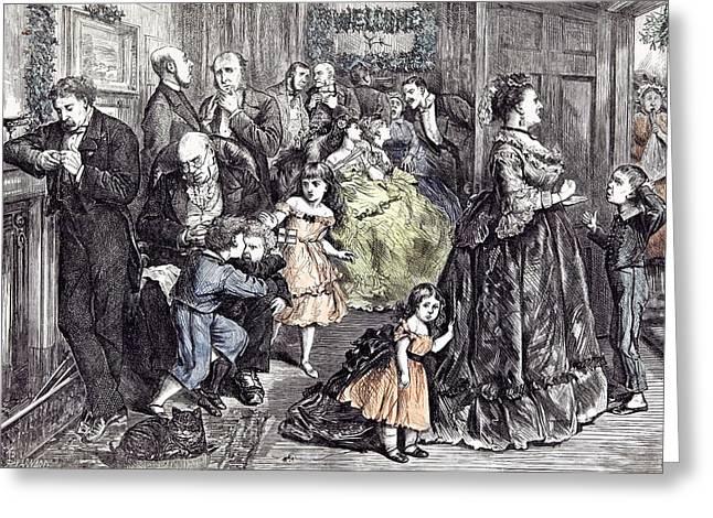 The Half Hour Before Dinner Barnard Children 1871 England Greeting Card by English School