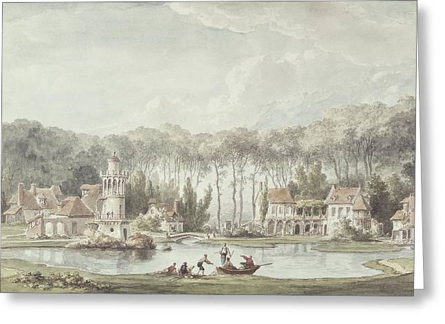 The Hameau, Petit Trianon, 1786 Wc Greeting Card by Claude Louis Chatelet