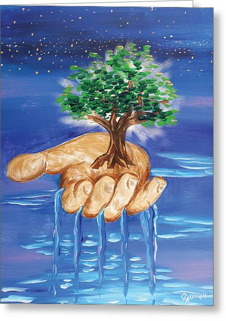 The Hand Of The Lord Greeting Card by Gary Rowell