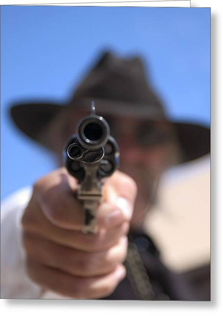 Greeting Card featuring the photograph The Handgun by Bob Pardue