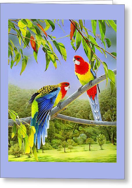 The Happy Couple - Eastern Rosellas  Greeting Card by Frances McMahon