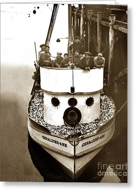 The Happy Crew Of The Fishing Boat  Geraldine- Ann Monterey California 1939 Greeting Card