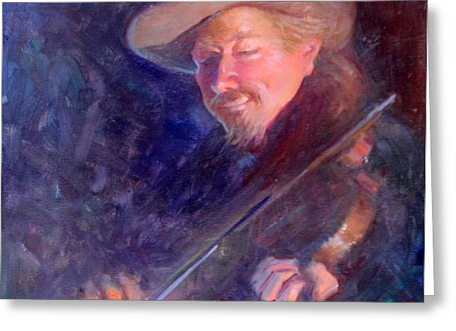 The Happy Fiddler Greeting Card by Ernest Principato
