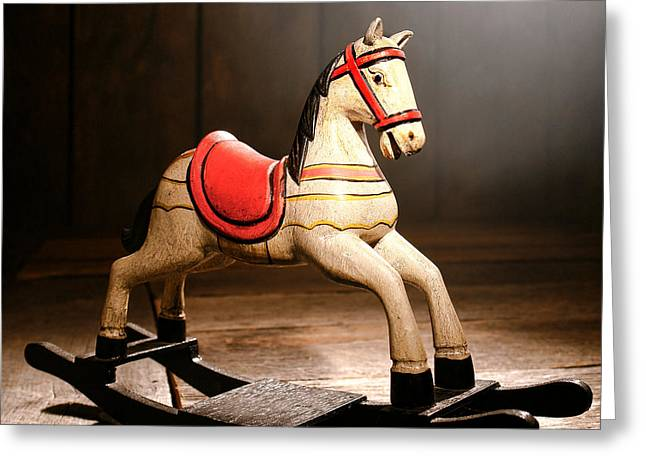 The Happy Little Rocking Horse In The Attic Greeting Card
