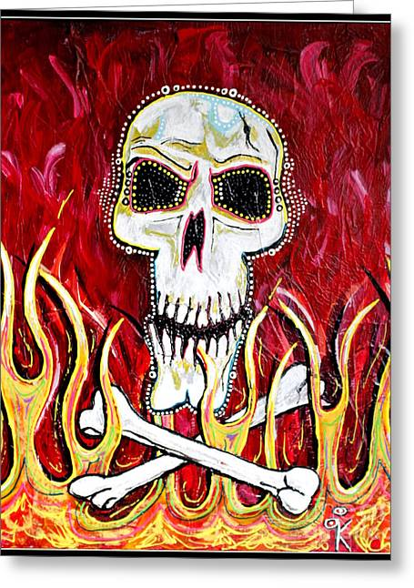 The Happy Skull Greeting Card by Kip Krause