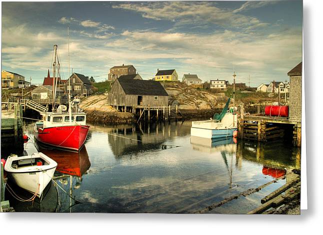 Greeting Card featuring the photograph The Harbour At Peggys Cove by Rob Huntley