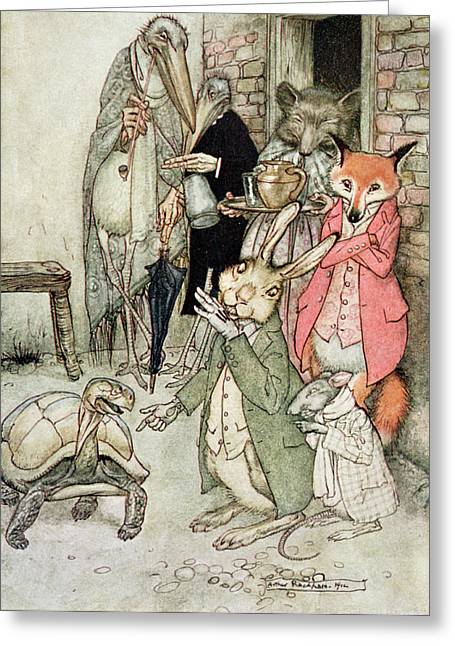The Hare And The Tortoise, Illustration From Aesops Fables, Published By Heinemann, 1912 Colour Greeting Card