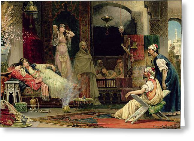 The Harem Greeting Card by Juan Gimenez y Martin