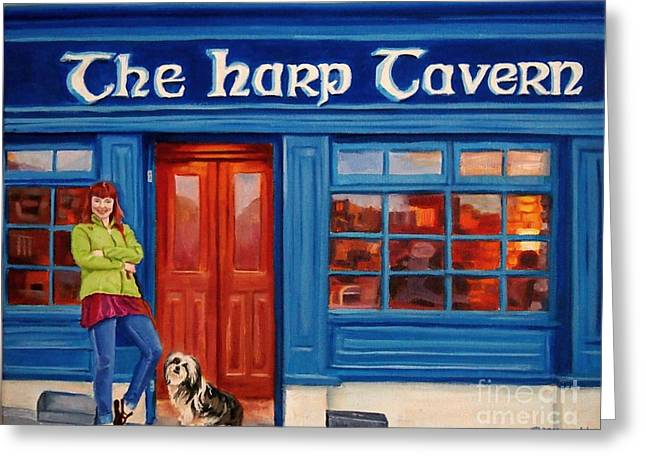 The Harp Tavern Greeting Card by Janet McDonald