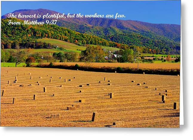 The Harvest Is Plentiful But The Workers Are Few - From Matthew 9.37 - Autumn Shenandoah Valley Greeting Card by Michael Mazaika