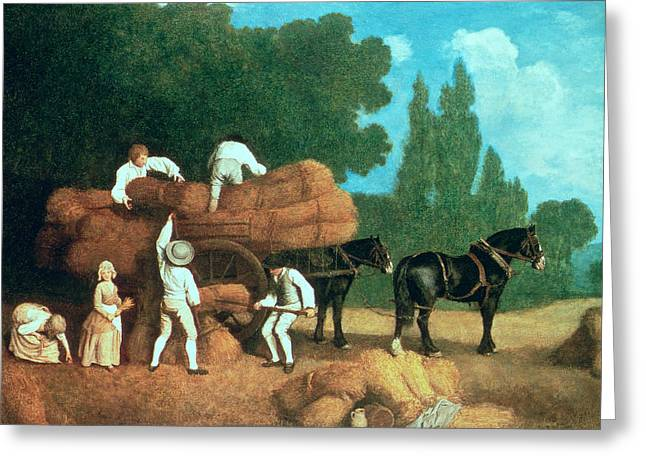 The Harvest Wagon Greeting Card by George Stubbs