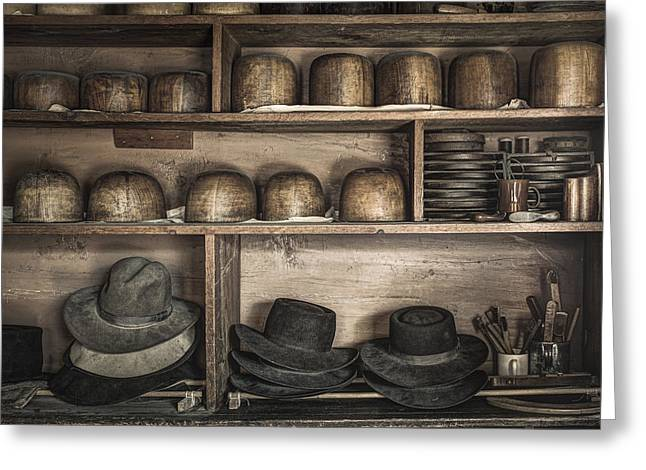 The Hatters Shelves 1- 19th Century Hatters Shop Greeting Card by Gary Heller