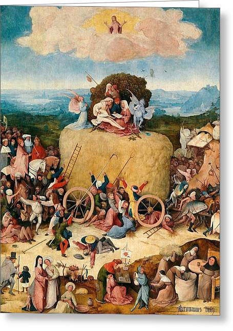 The Hay Wagon - Central Panel Greeting Card by Hieronymus Bosch