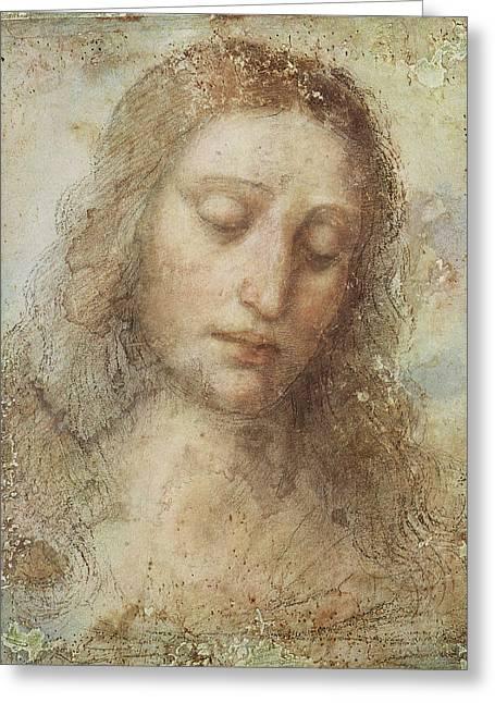 The Head Of Christ Greeting Card by Leonardo da Vinci