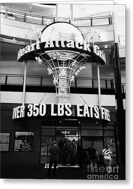 the heart attack grill restaurant freemont street downtown Las Vegas Nevada USA Greeting Card