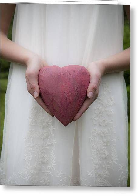 The Heart In Her Hands Greeting Card by Maria Heyens