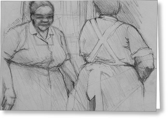 The Help - Housekeepers Of Soniat House Sketch Greeting Card by Jani Freimann