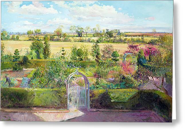The Herb Garden After The Harvest Greeting Card by Timothy Easton