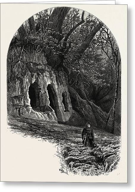 The Hermits Cave, Depedale, The Dales Of Derbyshire Greeting Card by English School