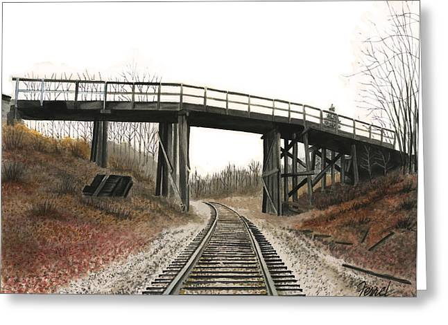 Greeting Card featuring the painting The High Bridge by Ferrel Cordle
