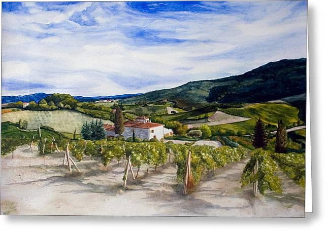 The Hills Of Tuscany Greeting Card by Monika Degan