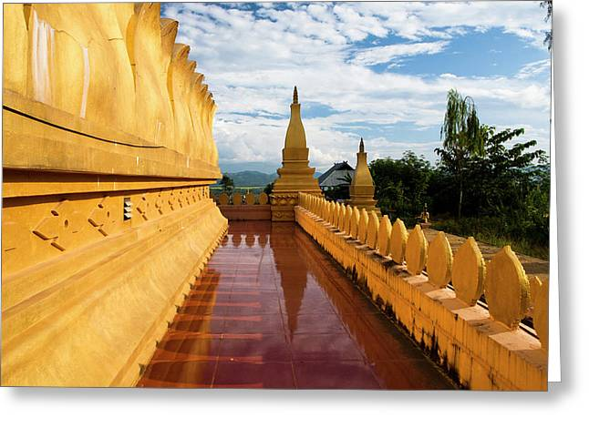 The Hilltop Stupa Temple Above Luang Greeting Card by Micah Wright