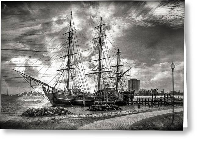 The Hms Bounty In Black And White Greeting Card
