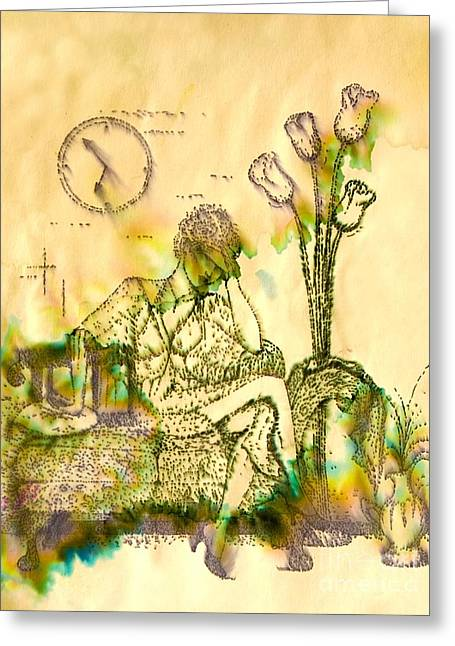 Greeting Card featuring the drawing The Hold Up Sepia Tone by Angelique Bowman