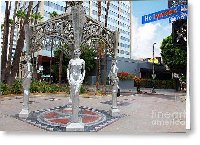 The Hollywood Boulevard Gazebo La Brea Gateway To Hollywood 5d28926 Greeting Card by Wingsdomain Art and Photography