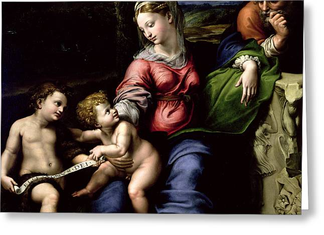 The Holy Family Of The Oak Tree, Circa 1518 Greeting Card by Raphael
