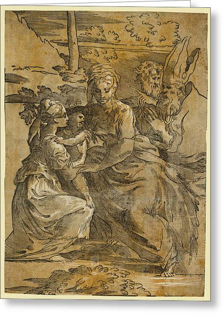 The Holy Family With St. Margaret And A Bishop Greeting Card by Da Trento, Antonio (1508?1550), Italian And, Giuseppe Niccolo Vicentino, Parmigianino, Andrea Andreani