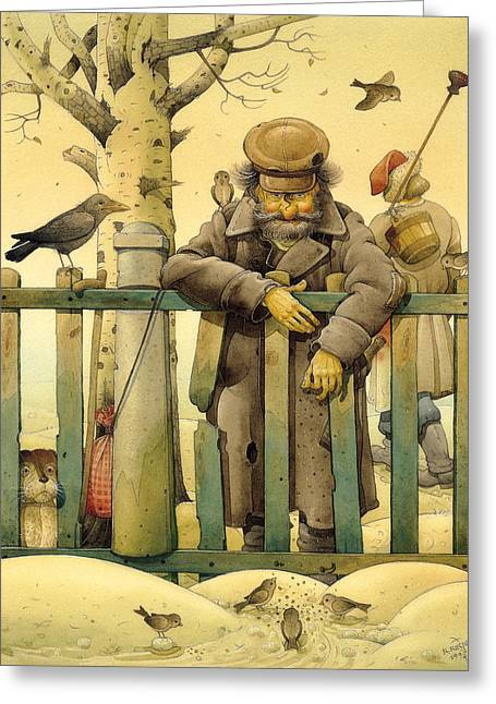 The Honest Thief 02 Illustration For Book By Dostoevsky Greeting Card by Kestutis Kasparavicius