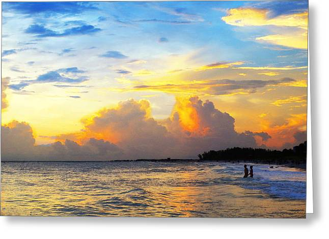 The Honeymoon - Sunset Art By Sharon Cummings Greeting Card